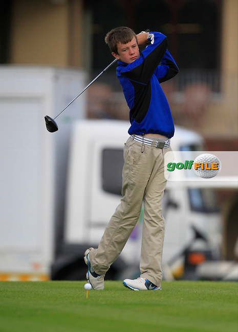 Harry Gilivan (Westport) on the 1st tee during the Irish Boys Under 15 Amateur Open Championship Round 2 at the West Waterford Golf Club on Wednesday 21st August 2013 <br /> Picture:  Thos Caffrey/ www.golffile.ie