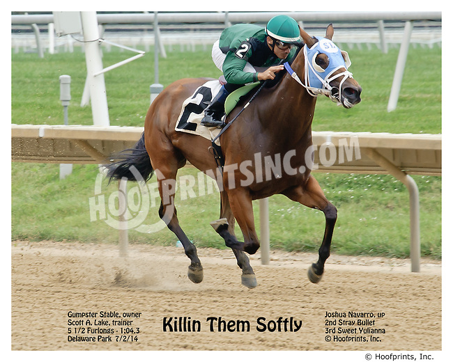 Killin Them Softly winning at Delaware Park racetrack on 7/2/14
