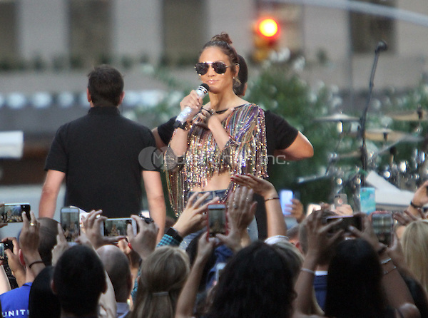 NEW YORK, NY-July 11: Jennifer Lopez  perform with Lin-Manuel Miranda a Orlando tribute song Love Make the World Go Round on NBC's Today Show Citi Concert Series at Rockefeller Center in New York. NY July 11, 2016. Credit:RW/MediaPunch