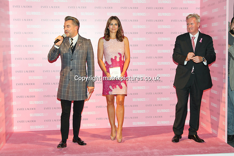 NON EXCLUSIVE PICTURE: MATRIXPICTURES.CO.UK.PLEASE CREDIT ALL USES..WORLD RIGHTS..English former model and actress Elizabeth Hurley is pictured raising awareness for breast cancer at Selfridges in Manchester...It is part of Estee Lauder's Breast Cancer Awareness Campaign...OCTOBER 11th 2012..REF: MMY 124491