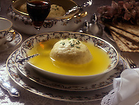 A bowl of matzo ball soup