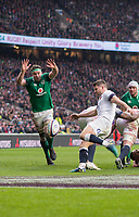Twickenham, United Kingdom.   Natwest 6 Nations : England vs Ireland. Richard Wigglesworth, kicking clear, at the RFU Stadium, Twickenham, England, <br />