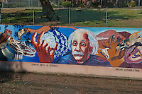 Albert Einstein, Great Wall Mural, Jewish Arts and Science, Los Angeles, CA; Valley Glen, Los Angeles, CA,  San Fernando; Valley; Tujunga Wash; sub watershed,  California;