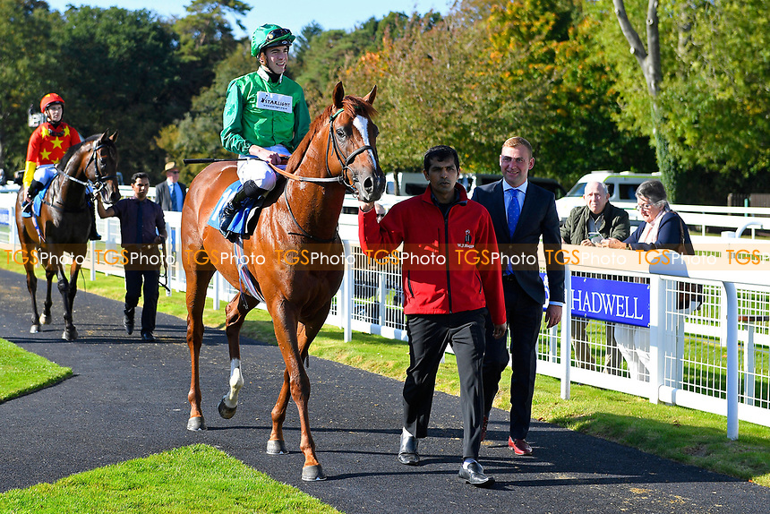 Winner of The Radcliffe & Co EBF Novice Stakes Div 1  Senza Limiti ridden by James Doyle and trained by William Haggas is led into the Winners Enclosure during Afternoon Racing at Salisbury Racecourse on 3rd October 2018