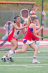 Redondo Beach, CA 05/14/11 -  unidentified Los Alamitos player and Kamryn Claridge (Redondo Union #4)in action during the 2011 US Lacrosse / CIF Southern Section Division 1 Girls Varsity Lacrosse Championship, Los Alamitos defeated Redondo Union 17-5.