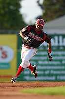 Batavia Muckdogs outfielder Stone Garrett (11) running the bases on a triple during a game against the Mahoning Valley Scrappers on July 3, 2015 at Dwyer Stadium in Batavia, New York.  Batavia defeated Mahoning Valley 7-4.  (Mike Janes/Four Seam Images)