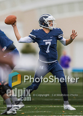 8 October 2016: Middlebury College Panther Quarterback Jared Lebowitz, a Junior from Burlington, VT, in action against the Amherst College Purple & White at Alumni Stadium in Middlebury, Vermont. The Panthers edged out the Purple & While 27-26. Mandatory Credit: Ed Wolfstein Photo *** RAW (NEF) Image File Available ***