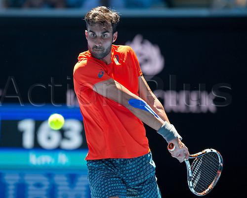 18.01.2016. Melbourne Park, Melbourne, Australia. Australian Open Tennis championships. Yuki Bhambri (Ind) mens singles