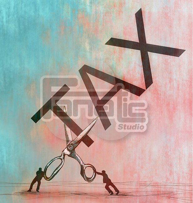 Concept image of two small men with a large scissors cutting the word tax depicting tax cuts
