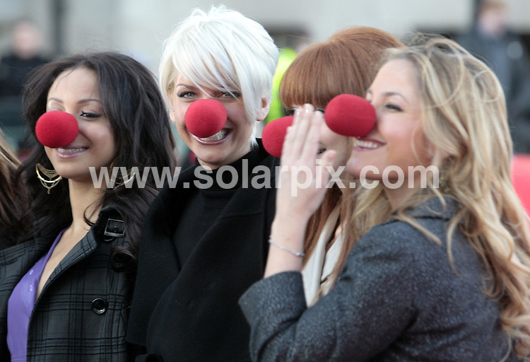 ALL ROUND PICTURES FROM SOLARPIX.COM.**NO PUBLICATION IN FRANCE, SCANDANAVIA, AUSTRALIA AND GERMANY** UK RESTRICTIONS: NO NEWSPAPER PUBLICATION, MAGAZINES ONLY**.Comic Relief launch Red Nose Day 2007 with the help of Girls Aloud and The Sugababes at the London Eye on 31.01.07..This pic: Amelle Berrabah, Sarah Harding, Nicola Roberts and Heidi Range..DATE: 31.01.07-JOB REF: 3294-SFE.**MUST CREDIT SOLARPIX.COM OR DOUBLE FEE WILL BE CHARGED**