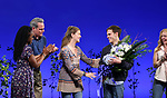 Kristolyn Lloyd, Michael Park, Laura Dreyfuss, Rachel Bay Jones with Taylor Trensch takes his bows as the newest Evan in 'Dear Evan Hansen' on Broadway at the Music Box Theatre on February 6, 2018 in New York City.