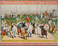 BNPS.co.uk (01202 558833)<br /> Pic: LunkAuctionGalleries/BNPS<br /> <br /> ***Please Use Full Byline***<br /> <br /> The Barnum and Bailey Greatest Show on Earth.<br /> <br /> A collection of rare 125-year-old posters advertising a world-renowned circus billed as &quot;the greatest show on earth&quot; have emerged for sale for &pound;20,000.<br /> <br /> The stunning posters publicised the famed Barnum and Bailey travelling circus which wowed crowds all over the globe in the late 1800s and early 1900s.<br /> <br /> The five rare posters have been put up for sale by American businessman Sanford Rich, who had previously displayed them on the walls of his renowned delicatessen Kopperman's, an institution in St Louis, Missouri.<br /> <br /> Experts have tipped the posters to fetch $30,000 - around &pound;20,000 - when they go under the hammer at Link Auctions in St Louis on November 14.