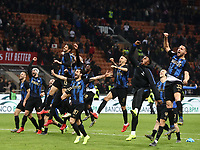 Calcio, Serie A: AC Milan - Inter Milan, Giuseppe Meazza (San Siro) stadium, Milan on 17 March 2019.  <br /> Inter's players celebrate after winning 3- 2 the Italian Serie A football match between Milan and Inter Milan at Giuseppe Meazza stadium, on 17 March 2019. <br /> UPDATE IMAGES PRESS/Isabella Bonotto