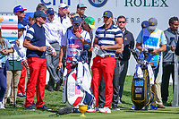 Brooks Koepka (USA) looks over his tee shot on 1 during round 4 Singles of the 2017 President's Cup, Liberty National Golf Club, Jersey City, New Jersey, USA. 10/1/2017. <br /> Picture: Golffile | Ken Murray<br /> <br /> All photo usage must carry mandatory copyright credit (&copy; Golffile | Ken Murray)