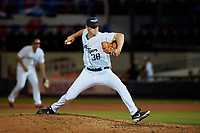 Lakeland Flying Tigers relief pitcher Billy Lescher (38) during a Florida State League game against the Tampa Tarpons on April 5, 2019 at Publix Field at Joker Marchant Stadium in Lakeland, Florida.  Lakeland defeated Tampa 5-3.  (Mike Janes/Four Seam Images)