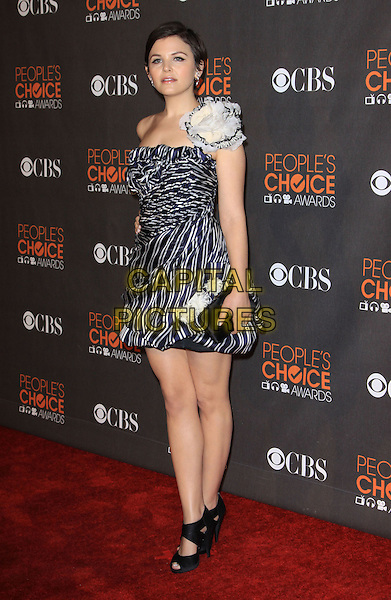 GINNIFER GOODWIN .People's Choice Awards 2010 held At Nokia Theatre LA LiVE, .Los Angeles, California, USA, .6th January 2010..arrivals full length strapless blue and white print flower corsage black sandals clutch bag peep toe shoes shoulder striped navy .CAP/ADM/KB.©Kevan Brooks/Admedia/Capital Pictures