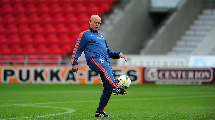 Middlesbrough&rsquo;s assistant head coach Steve Agnew during the pre-match warm-up <br /> <br /> Photographer Chris Vaughan/CameraSport<br /> <br /> Football - Pre-Season Friendly - Doncaster Rovers v Middlesbrough - Saturday 25th July 2015 - Keepmoat Stadium, Doncaster<br /> <br /> &copy; CameraSport - 43 Linden Ave. Countesthorpe. Leicester. England. LE8 5PG - Tel: +44 (0) 116 277 4147 - admin@camerasport.com - www.camerasport.com