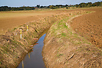 Newly renovated repaired drainage ditch Hollesley, Suffolk, England