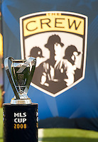 MLS Cup trophy displayed in front of the Columbus Crew banner during MLS Cup 2008. Columbus Crew defeated the New York Red Bulls, 3-1, Sunday, November 23, 2008. Photo by John Todd/isiphotos.com