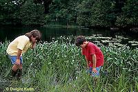 FA27-129z  Children exploring at pond