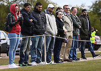Former Premier League referee, Graham Poll (3rd right), watches the Bedfordshire County Football League match between Ampthill Town U18 and Renhold United Reserves at Shefford Sports Club, Shefford, England on 30 April 2016. Photo by David HornPRiME Media Images.