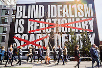"""""""Untitled (Blind Idealism Is...) by the artist Barbara Kruger on display along the High Line Park in New York on Sunday, March 27, 2016. The work is an adaptation of a quote from  philosopher Frantz Fanon which has been used in a number of the artists' works. (© Richard B. Levine)"""