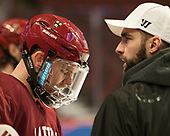 Sean Malone (Harvard - 17), Louis Leblanc (Harvard) - The Harvard University Crimson practiced at the United Center on Wednesday, April 5, 2017, in Chicago, Illinois.