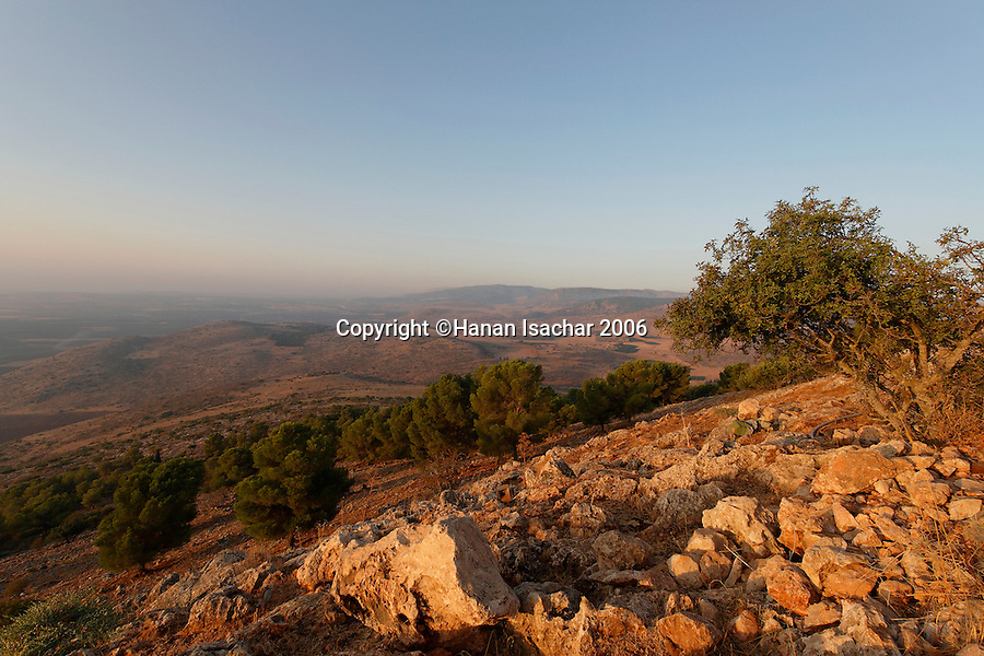 Israel, the Upper Galilee. A view south from Keren Naphtali