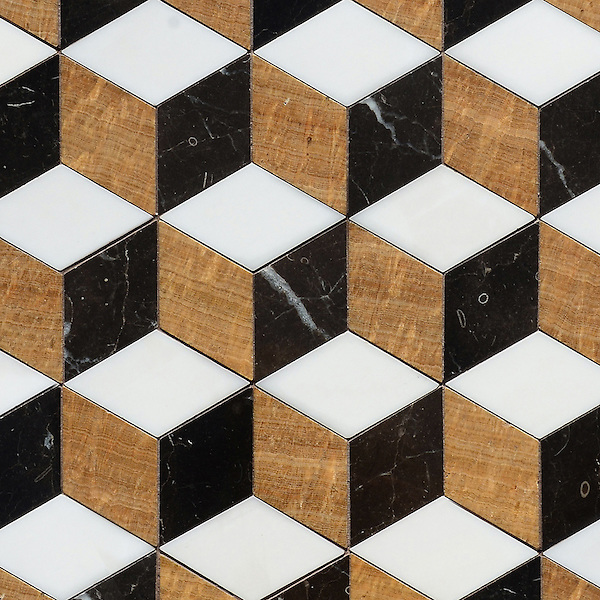 Euclid Grand, a hand-cut mosaic shown in polished Topaz Onyx, Dolomite, and Saint Laurent, is part of the Illusions® collection by New Ravenna.