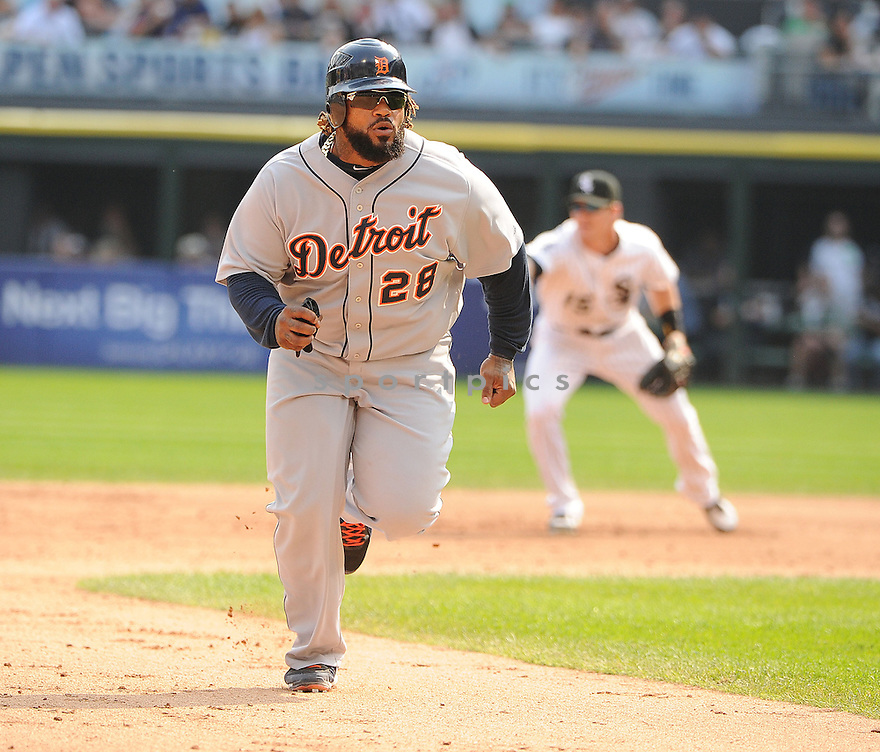 Detroit Tigers Prince Fielder (28) in action during a game against the Chicago White Sox on September 17, 2012 at US Cellular Field in Chicago, IL. The Sox beat the Tigers 5-4.