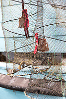 Two Fish traps hanging on the side of a blue painted boat.