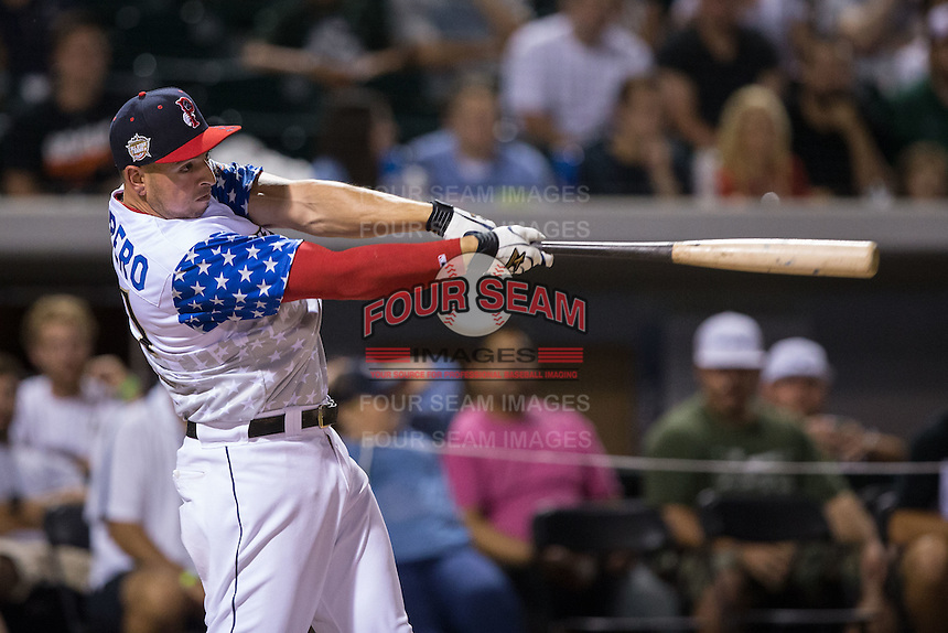 Chris Marrero of the Pawtucket Red Sox bats in the final round of the 29th Annual Triple-A Home Run Derby at BB&T BallPark on July 11, 2016 in Charlotte, North Carolina.  Marrero defeated Kyle Jensen (not pictured) of the Reno Aces 18-17.  (Brian Westerholt/Four Seam Images)