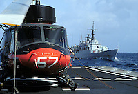 """- Italian Navy, AB 212 antisubmarine helicopter of """"Euro"""" frigate and """"Espero"""" frigate in navigation....- Marina militare italiana, elicottero antisommergibili  AB 212 della fregata """"Euro"""" e fregata """"Espero"""" in navigazione.."""