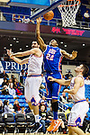 Texas-Arlington Mavericks forward Jordan Reves (55) and Houston Baptist Huskies guard/forward Dauson Womack (22) in action during the game between the Houston Baptist Huskies and the Texas-Arlington Mavericks at the College Park Center arena in Arlington, Texas. UTA defeats Houston Baptist 81 to 47...
