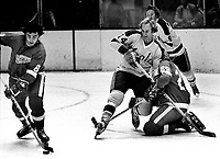Seals Craig Patrick is held by Detroit Red Wing,Rich Newell or Tom Mellor, #8 Guy Charron or Robbie Ftorek. <br /> (1973 photo/Ron Riesterer)