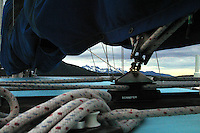 The Katmai coast through the rigging of the Dutch Baby sailboat.