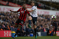 Jan Vertonghen of Tottenham Hotspur clears away Joshua King of Bournemouth from during the Premier League match between Tottenham Hotspur and Bournemouth at White Hart Lane, London, England on 15 April 2017. Photo by Mark  Hawkins / PRiME Media Images.