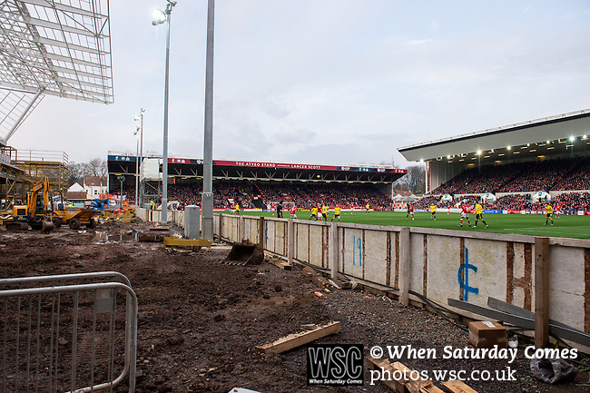 Bristol City 1 Middlesbrough 0, 16/01/2016. Ashton Gate, Championship. Bristol City take on Championship leaders Middlesbrough pictured from the new west stand development. Ashton Gate is located in the south-west of the city, it currently has an all-seated capacity of 16,600, due to redevelopment, which will increase to a capacity of 27,000 by the start of the 2016-17 season. Bristol City won the game one goal to nil with a headed injury time winner. Photo by Simon Gill