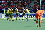 The Hague, Netherlands, June 15: Players of Australia celebrate after scoring during the field hockey gold match (Men) between Australia and The Netherlands on June 15, 2014 during the World Cup 2014 at Kyocera Stadium in The Hague, Netherlands. Final score 6-1 (2-1)  (Photo by Dirk Markgraf / www.265-images.com) *** Local caption ***