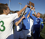 (Worcester, Ma 111613) Sutton High boys soccer team celebrates after beating Cohasset Middle  High 4-0, during the MIAA State Boys Division Four Final, Saturday, November 16, 2013, at Foley Stadium in Worcester. (Jim Michaud Photo) For Sunday