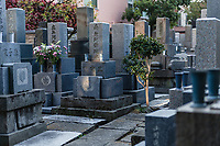 Cemetery of Komyoji Temple, Kamiyacho, Tokyo, Japan, April 13, 2019. Matsumoto Shoukei is the author of A Monk's Guide to a Clean House and Mind (Penguin). He hold periodic cleaning sessions at his temple in Tokyo's Kamiyacho district.