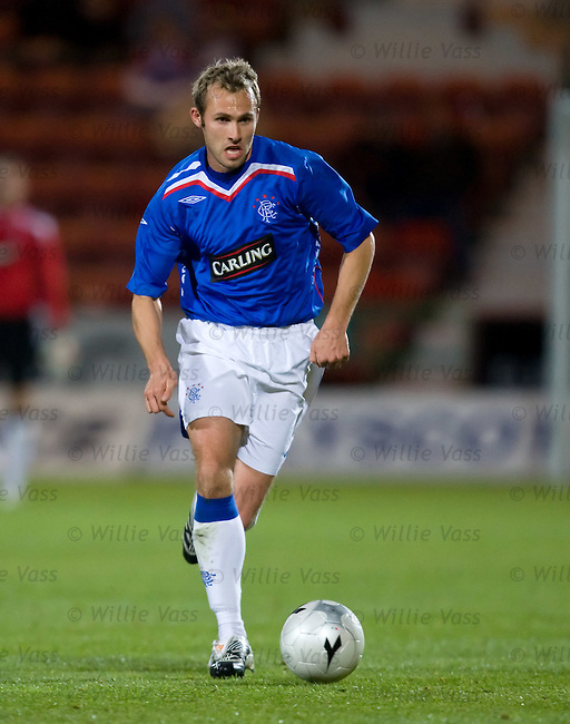 Belgian international Thomas Buffel makes his comeback for Rangers in the CIS Cup match at East Fife