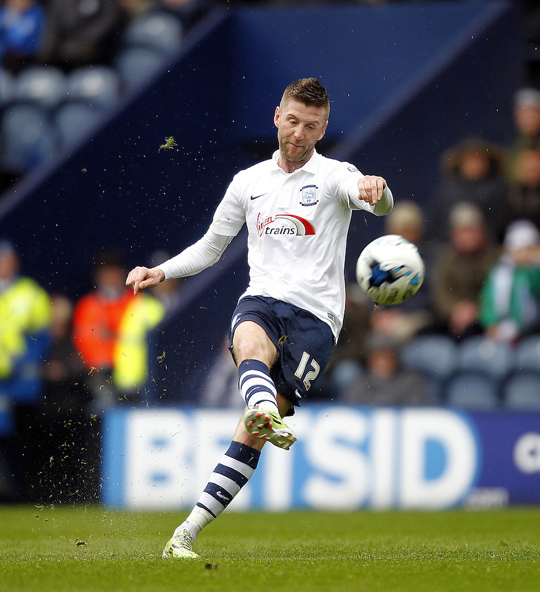 Preston North End's Paul Gallagher fires in a free kick<br /> <br /> Photographer Mick Walker/CameraSport<br /> <br /> Football - The Football League Sky Bet League One - Preston North End v Rochdale -  Friday 3rd April 2015 - Deepdale - Preston<br /> <br /> &copy; CameraSport - 43 Linden Ave. Countesthorpe. Leicester. England. LE8 5PG - Tel: +44 (0) 116 277 4147 - admin@camerasport.com - www.camerasport.com