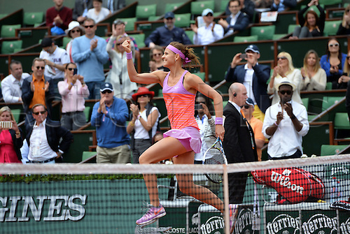 01.06.2015. Roland Garros, Paris, France. Lucie Safarova of Czech Republic in action during her Women's Singles match against Maria Sharapova of Russia on day nine of the 2015 French Open 2015 in Paris, France. Safarova won the match 7-6 6-4 to move into the quarter finals