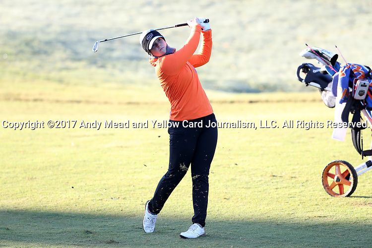 WILMINGTON, NC - OCTOBER 27: Florida's Marta Perez (ESP) on the 10th hole. The first round of the Landfall Tradition Women's Golf Tournament was held on October 27, 2017 at the Pete Dye Course at the Country Club of Landfall in Wilmington, NC.