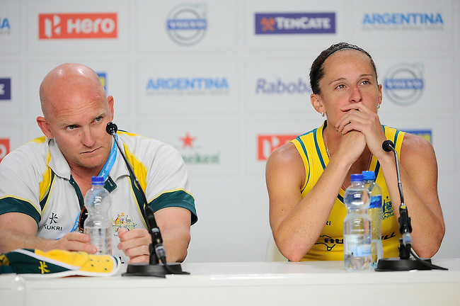 The Hague, Netherlands, June 12: Head coach Adam Commens of Australia and Madonna Blyth #12 of Australia during press conference after the field hockey semi-final match (Women) between USA and Australia on June 12, 2014 during the World Cup 2014 at Kyocera Stadium in The Hague, Netherlands. Final score after full time 2-2 (0-1). Score after shoot-out 1-3. (Photo by Dirk Markgraf / www.265-images.com) *** Local caption ***