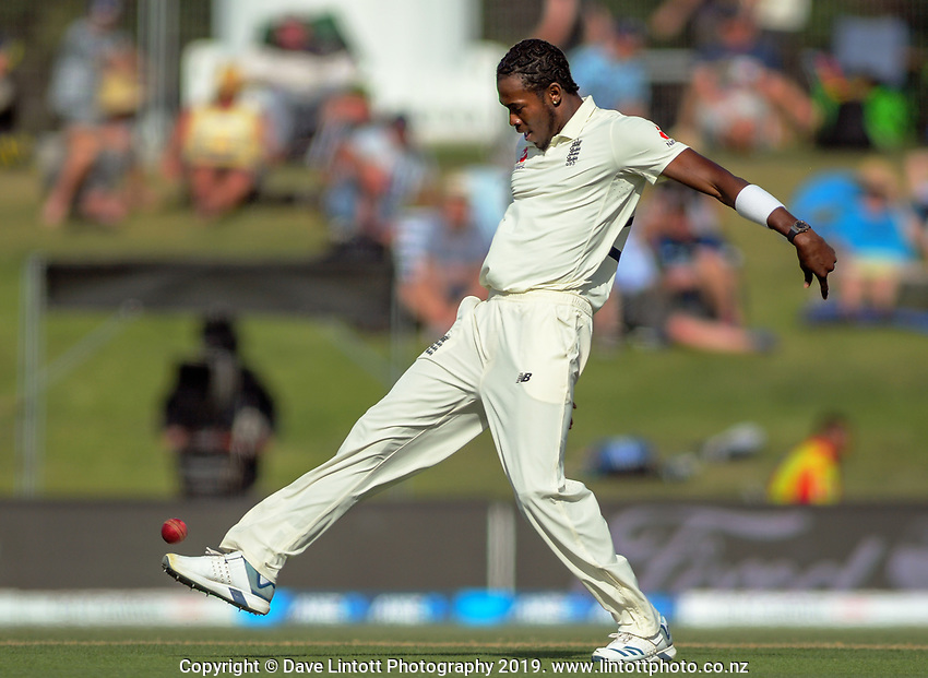 England bowler Jofra Archer fields with his foot during day two of the international cricket 1st test match between NZ Black Caps and England at Bay Oval in Mount Maunganui, New Zealand on Friday, 22 November 2019. Photo: Dave Lintott / lintottphoto.co.nz