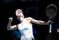 29th January 2020; Melbourne Park, Melbourne, Victoria, Australia; Australian Open Tennis, Day 10; Simona Halep of Romania celebrates her win in her match against Anett Kontaveit of Estonia