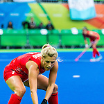 Georgie Twigg #7 of Great Britain sets up for the short corner during Argentina vs Great Britain in women's Pool B game  at the Rio 2016 Olympics at the Olympic Hockey Centre in Rio de Janeiro, Brazil.