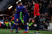 11th January 2018, Camp Nou, Barcelona, Spain; Copa del Rey football, round of 16, 2nd leg, Barcelona versus Celta Vigo; Leo Messi of FC Barcelona is substituted for Ousmane Dembélé of FC Barcelona in the 59th minute